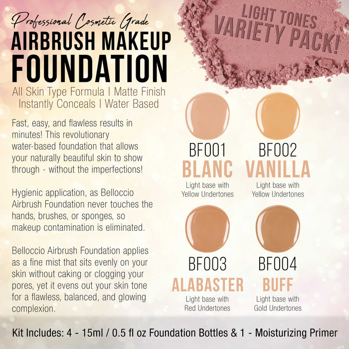FAIR Color Shade Foundation Set of Belloccio's Professional Cosmetic Airbrush Makeup in 1/2 oz Bottles