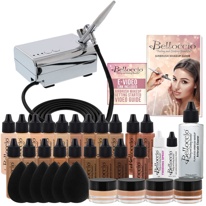 Complete Professional Belloccio Airbrush Cosmetic Makeup System with a Master Set of All 17 Foundation Shades in 1/2 oz Bottles