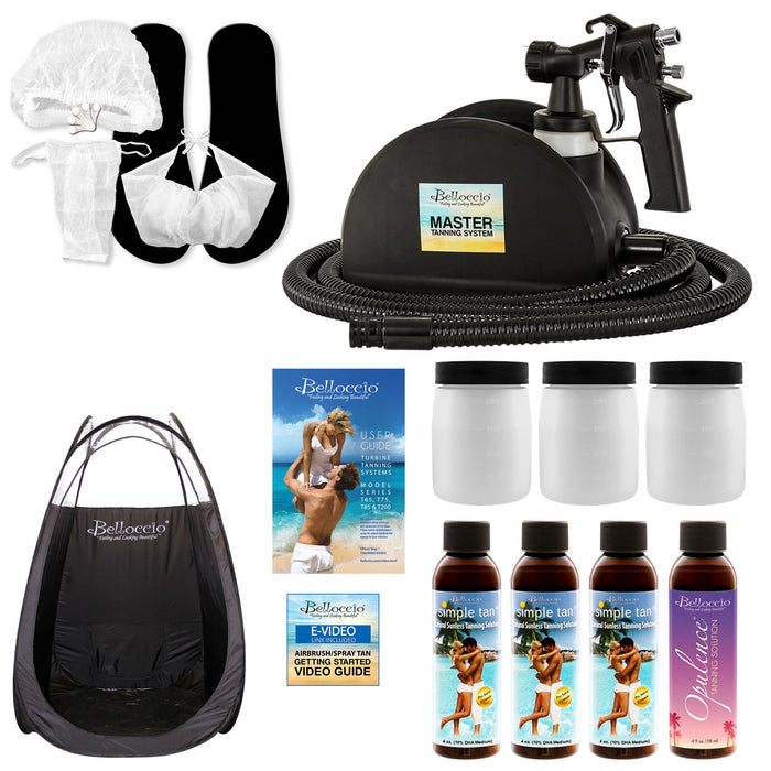 Belloccio Master T95 High Performance Sunless Turbine Spray Tanning System; 4 Solution Variety Pack with Opulence & 8, 10, 12% DHA Simple Tan, Tent, Accessories & User Guide Video Link