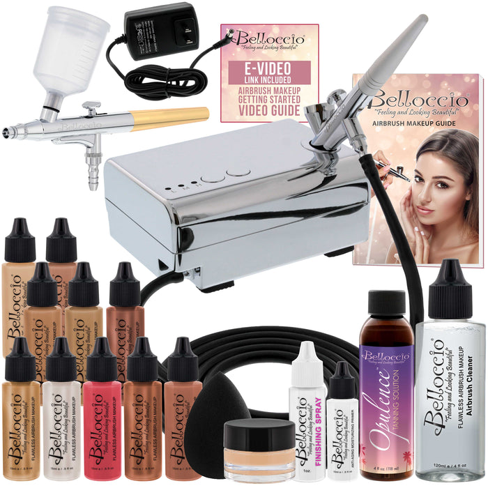 Belloccio Ultimate Airbrush Makeup & Spray Tanning System; Makeup & Tanning Airbrushes, Medium Shade Foundations, Blushes & Tanning Solution