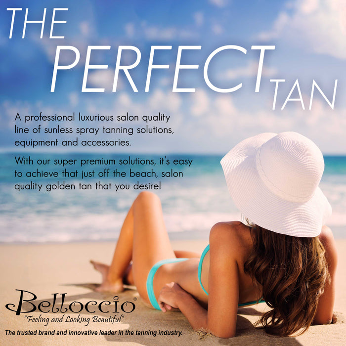 4 Ounce Bottle of Belloccio Simple Tan Professional Salon Sunless Tanning Solution with 12% DHA and Dark Bronzer Color Guide