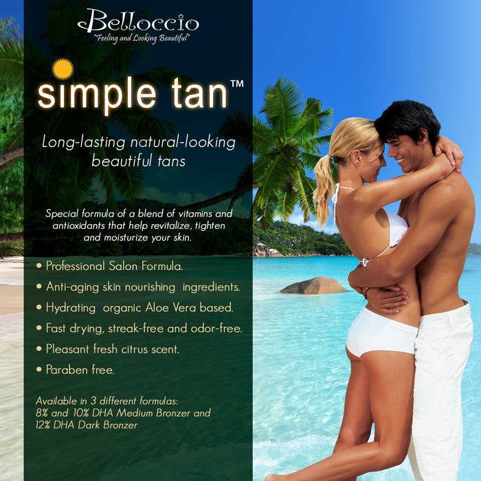 1 Pint of Belloccio Simple Tan Professional Salon Sunless Tanning Solution with 10% DHA and Medium Bronzer Color Guide