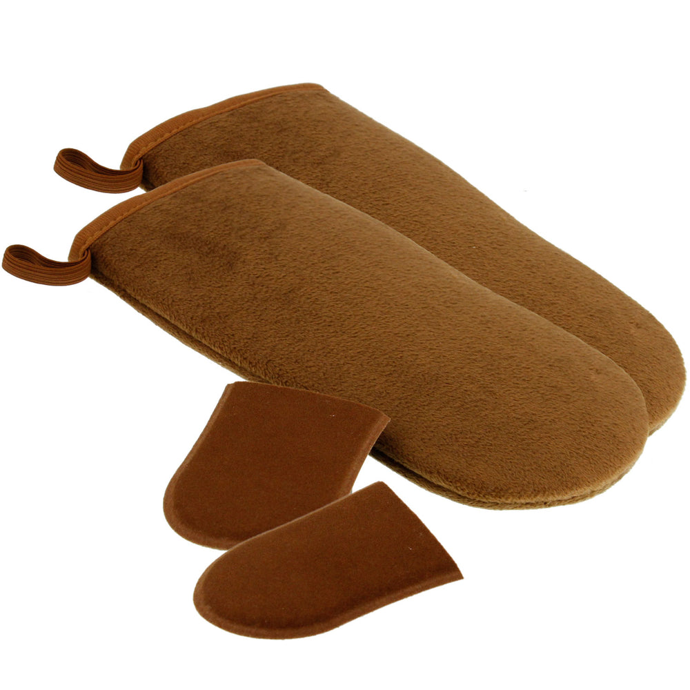 Belloccio Set of 4 Self Tanning Applicator Mitts; 2 Double Sided Large Mitts and 2 Mini Facial Tanning Mitts for Sunless Tan Lotions and Sprays