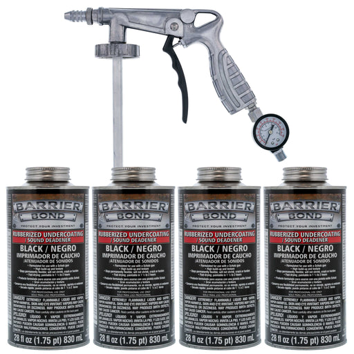 Black Rubberized Undercoating Sound Deadener Kit with 4 Quart Cans & Spray Applicator Gun