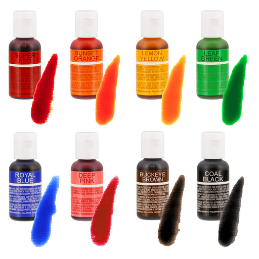 Chefmaster Liqua-Gel Cake Color Set - 8 of the Most Popular Colors in 0.7 fl. oz. (20ml) Bottles