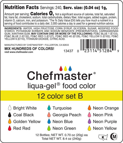 Liqua-Gel Food Coloring - 12 Color Set B - Fade Resistant Food Coloring - 12 Pack - Vibrant, Eye-Catching Colors, Easy-To-Blend Formula, Fade-Resistant