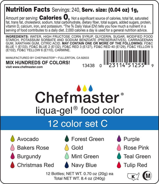 Liqua-Gel Food Coloring - 12 Color Set C - Fade Resistant Food Coloring - 12 Pack - Vibrant, Eye-Catching Colors, Easy-To-Blend Formula, Fade-Resistant