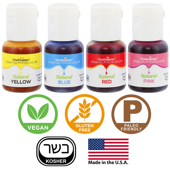 U.S. Cake Supply 4 Color Liqua-Gel All Natural Plant Based Food Coloring Kit in Tin Gift Box - Chefmaster Red, Yellow, Blue, Pink Bottles - Cake Decorating