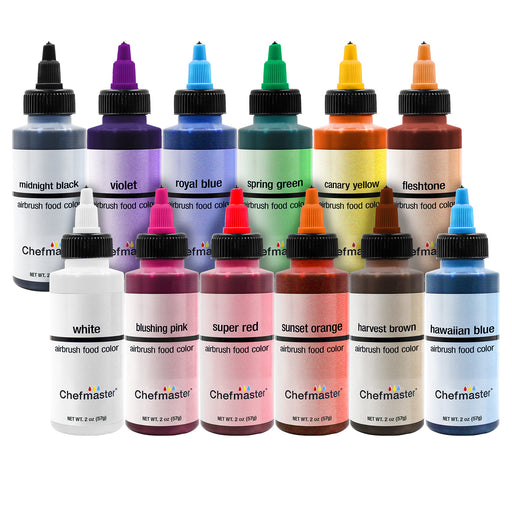 Chefmaster Airbrush Food Coloring Set - 12 of the Most Popular Colors in 2 fl. oz. Bottles