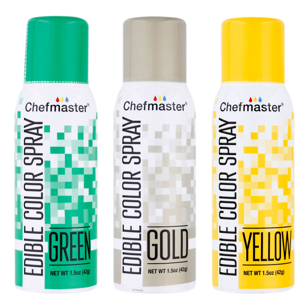 Chefmaster Edible Spray Color St Patricks Theme 3-Pack - 1.5 ounce Cans (Gold, Green, Yellow)