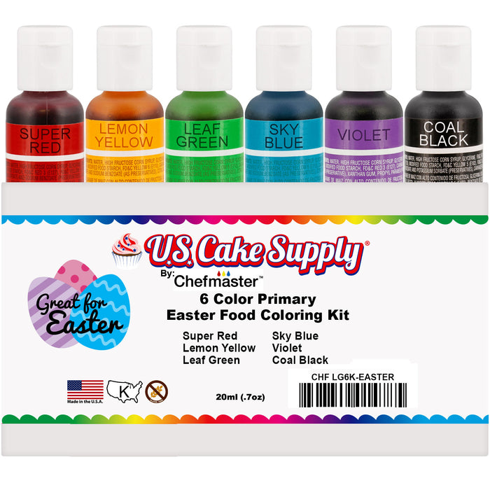 U.S. Cake Supply 6 Color Primary Easter Food Coloring Kit