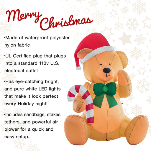 Christmas Masters 6 Foot Inflatable Teddy Bear Sitting Up with Santa Hat, Candy Cane, Green Gift Ribbon LED Lights Indoor Outdoor Yard Lawn Decoration