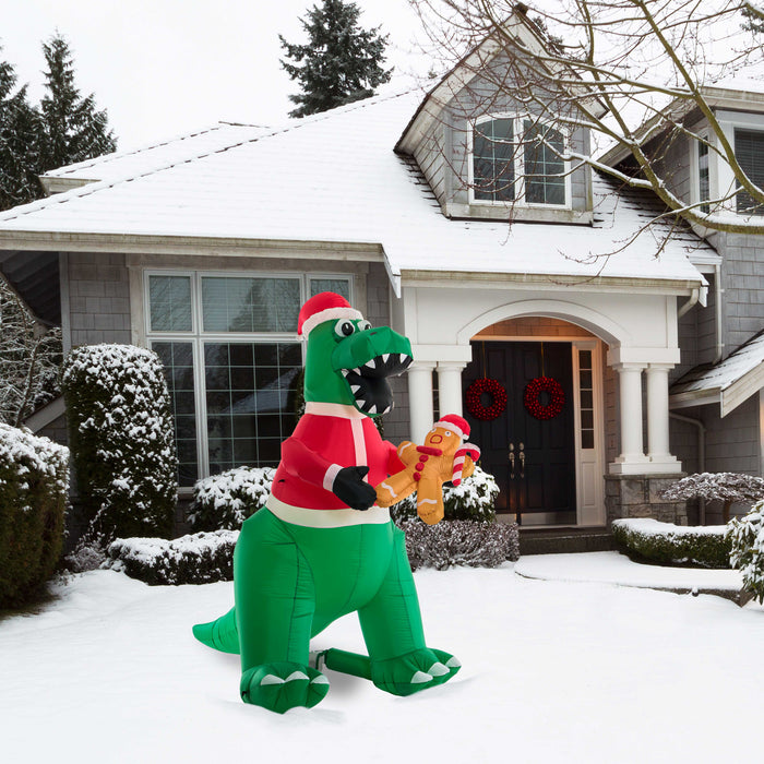 Christmas Masters 8 Foot High Inflatable T-Rex Dinosaur with Santa Hat Eating Gingerbread Man Cookie LED Lights Indoor Outdoor Yard Lawn Decoration