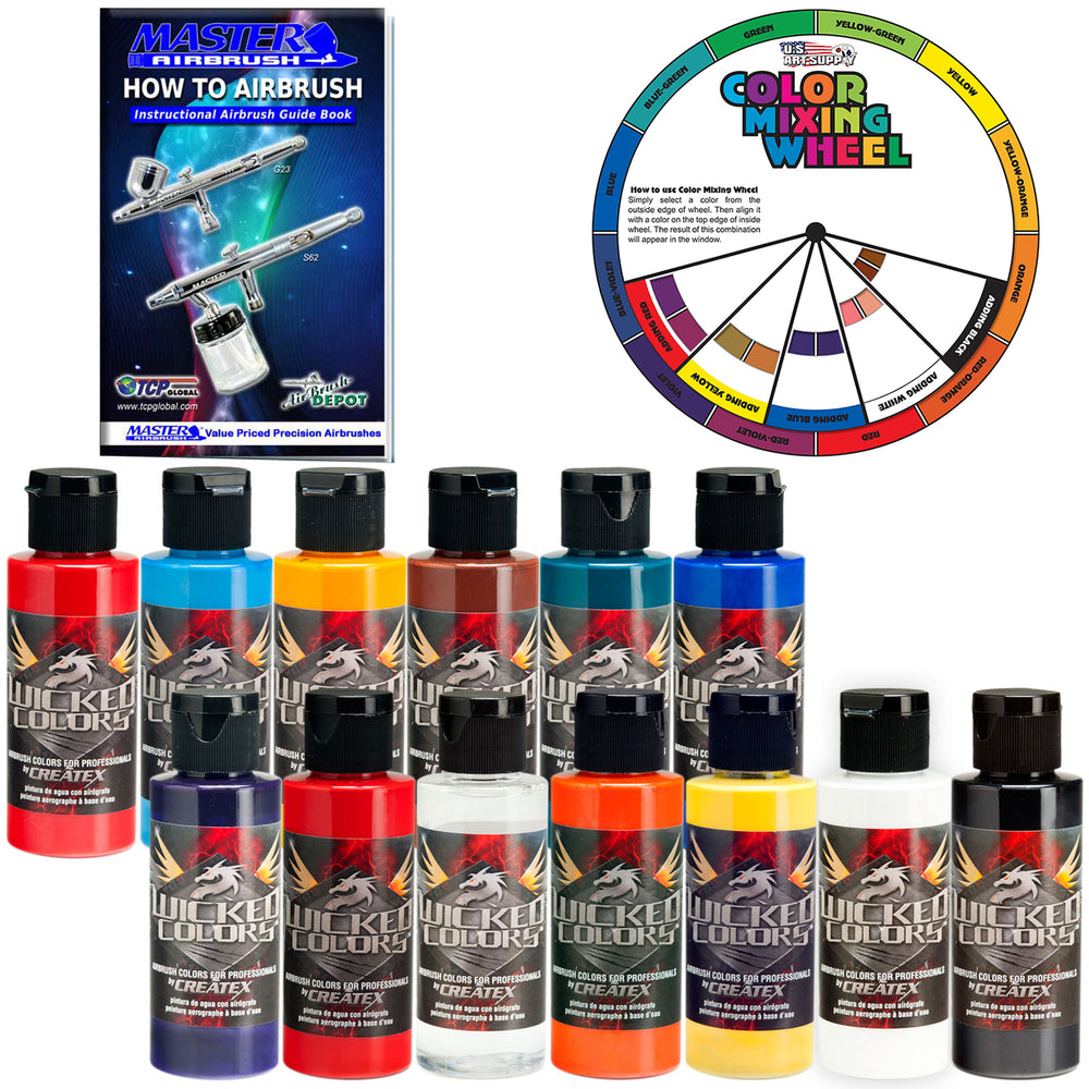 12 Color & Reducer Wicked Airbrush Paint Set, 2 oz. Bottles