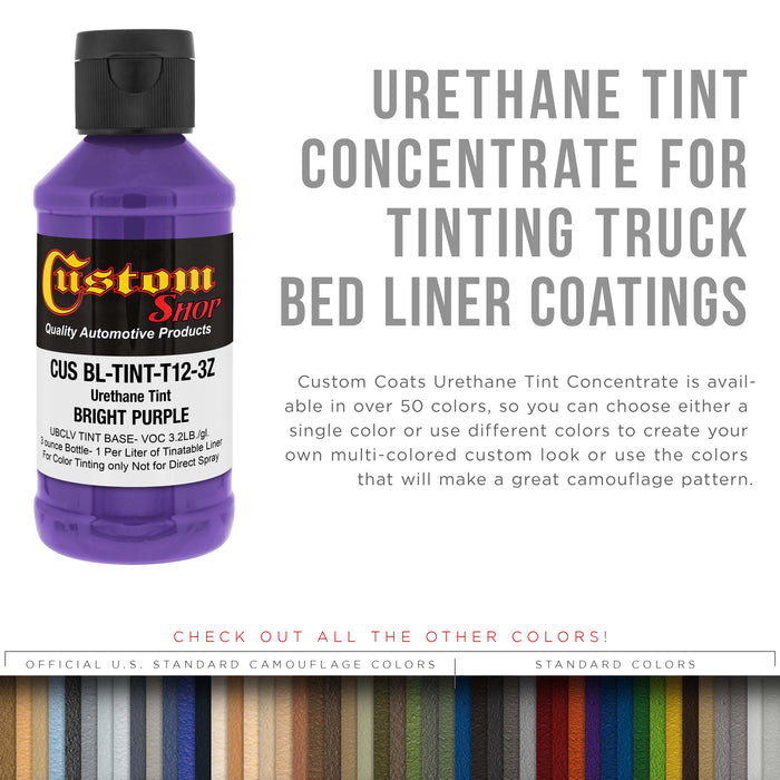3 Ounce (Bright Purple Color) Urethane Tint Concentrate for Tinting Truck Bed Liner Coatings - Proportioned for Use in Most Tintable Sprayable and Rollable Liner Brands