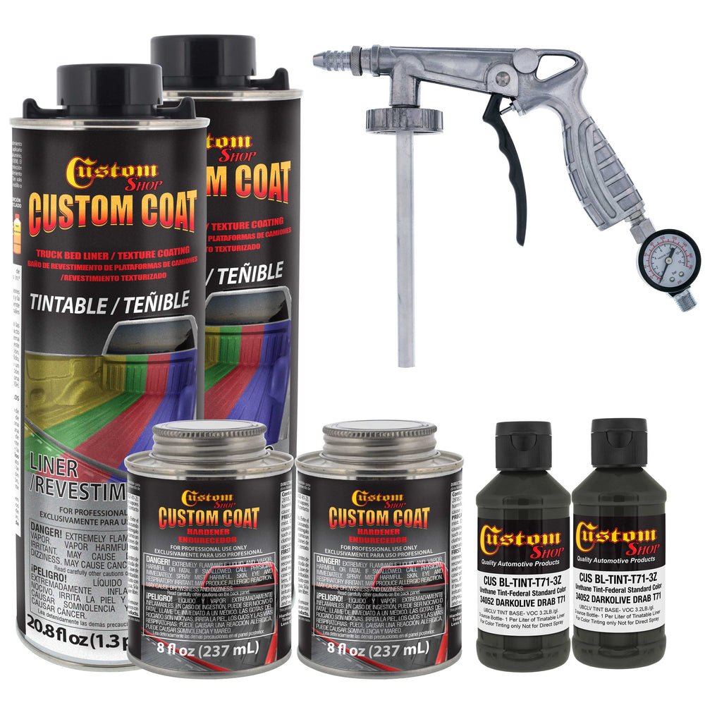 Federal Standard Color # 34052 USMC Dark Olive Drab T71 Urethane Spray-On Truck Bed Liner, 2 Quart Kit with Spray Gun and Regulator - Durable Textured Protective Coating