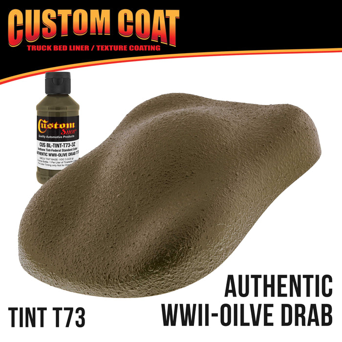 Federal Standard Color # Authentic WWII Olive Drab T73 Urethane Roll-On, Brush-On or Spray-On Truck Bed Liner, 1 Quart Kit with Roller Applicator Kit - Textured Car Auto Protective Coating