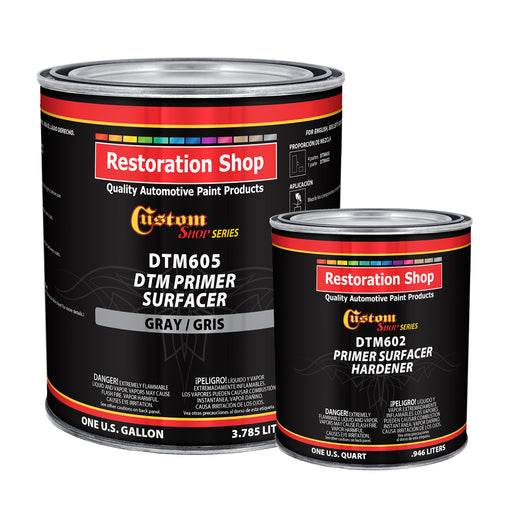 Custom Shop - GRAY DTM High Build 2K Primer Surfacer (Direct to Metal) 2.1 VOC (1-1/4 GALLON KIT) Fast Dry High-Performance Primer for Automotive and Industrial use - Kit includes 1 Gallon of DTM Primer and 1 Quart of Hardener (4 to 1 Mix Ratio)