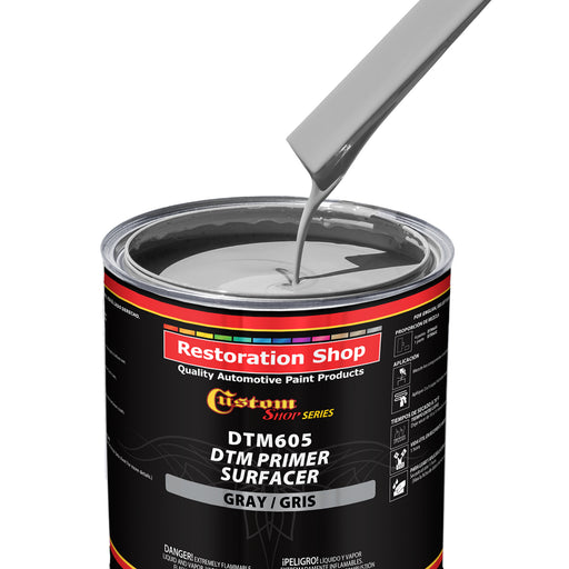 Custom Shop - GRAY DTM High Build 2K Primer Surfacer (Direct to Metal) 2.1 VOC (1-1/4 QUART KIT) Fast Dry High-Performance Primer for Automotive and Industrial use - Kit includes 1 Quart of DTM Primer and 1 Half Pint of Hardener (4 to 1 Mix Ratio)