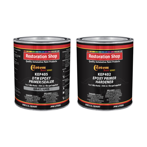 Gray Epoxy Primer/Sealer 2.1 VOC (1/2 Gallon Kit) Anti-Corrosive DTM High-Performance Primer for Automotive and Industrial use Kit = 1 Qt. Epoxy Primer +1 Qt. Epoxy Hdr.  (1-1 Mix)