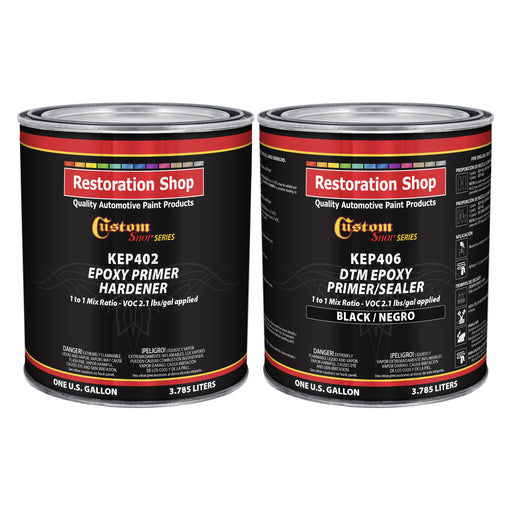 Black Epoxy Primer/Sealer 2.1 VOC (2-Gallon Kit) Anti-Corrosive DTM High-Performance Primer for Automotive and Industrial use Kit= 1 Gal. Epoxy Primer +1 Gal. Epoxy Hardener (1-1 Mix)