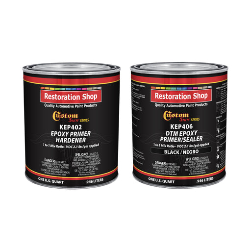 Black Epoxy Primer/Sealer 2.1 VOC (1/2 Gallon Kit) Anti-Corrosive DTM High-Performance Primer for Automotive and Industrial use Kit = 1 Qt. Epoxy Primer +1 Qt. Epoxy Hdr.(1-1 Mix)