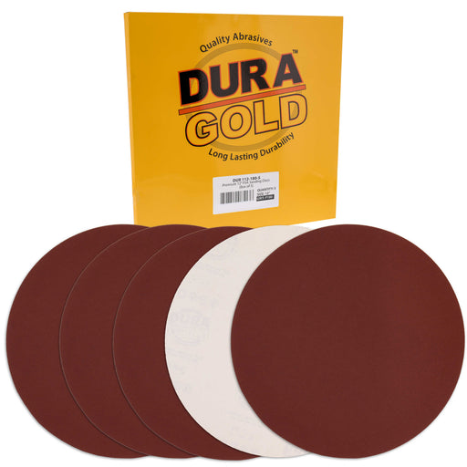 "Dura-Gold Premium 12"" PSA Sanding Discs - 180 Grit (Box of 5) - Sandpaper Discs with Self Adhesive, Fast Cutting Aluminum Oxide, Drywall, Floor, Wood"