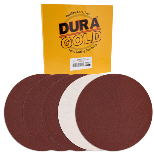 "Dura-Gold Premium 12"" PSA Sanding Discs - 60 Grit (Box of 10) - Sandpaper Discs with Self Adhesive, Fast Cutting Aluminum Oxide, Drywall, Floor, Wood"