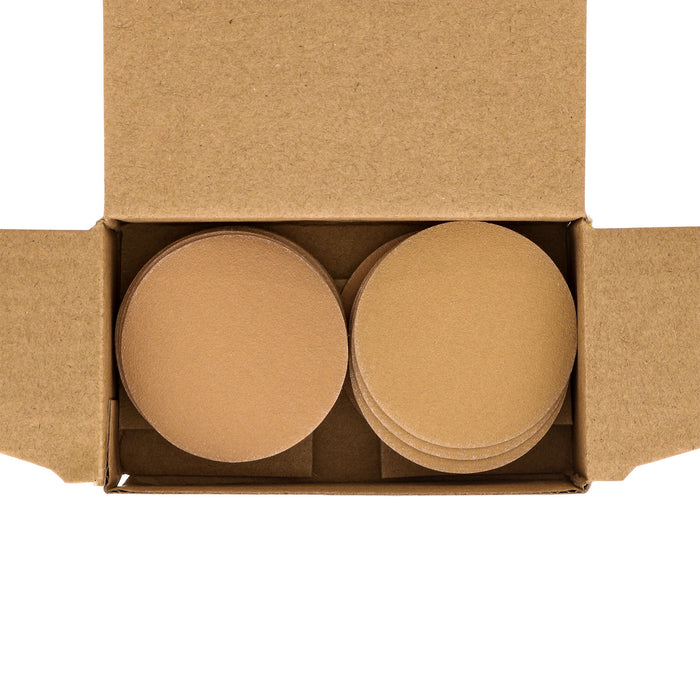"220 Grit - 2"" Gold Hook & Loop Sanding Discs for DA Sanders - Box of 30"