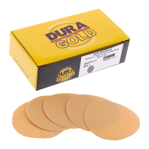 "Dura-Gold - Premium - 320 Grit 2"" Gold Hook & Loop Sanding Discs for DA Sanders - Box of 30 Sandpaper Finishing Discs for Automotive and Woodworking"