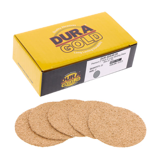 "40 Grit - 2"" Gold Hook & Loop Sanding Discs for DA Sanders - Box of 20"