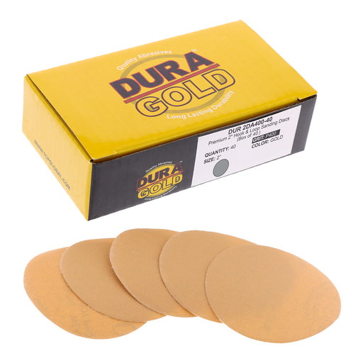 "Dura-Gold - Premium - 400 Grit 2"" Gold Hook & Loop Sanding Discs for DA Sanders - Box of 40 Sandpaper Finishing Discs for Automotive and Woodworking"