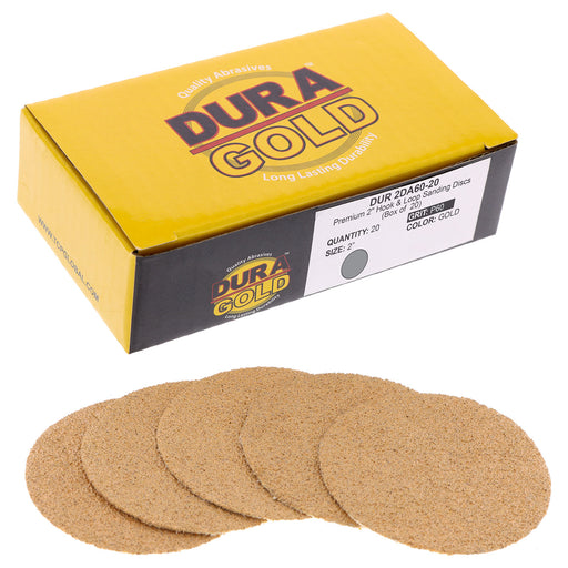 "Dura-Gold - Premium - 60 Grit 2"" Gold Hook & Loop Sanding Discs for DA Sanders - Box of 20 Sandpaper Finishing Discs for Automotive and Woodworking"