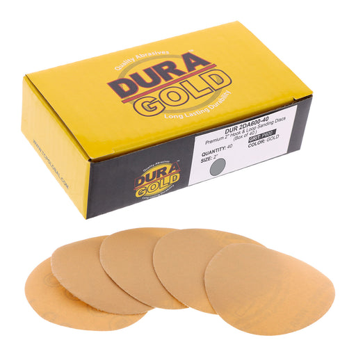 "Dura-Gold - Premium - 600 Grit 2"" Gold Hook & Loop Sanding Discs for DA Sanders - Box of 40 Sandpaper Finishing Discs for Automotive and Woodworking"