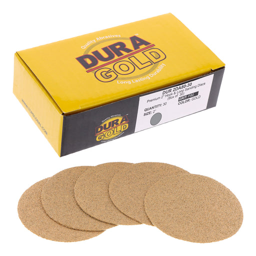 "Dura-Gold - Premium - 80 Grit 2"" Gold Hook & Loop Sanding Discs for DA Sanders - Box of 30 Sandpaper Finishing Discs for Automotive and Woodworking"