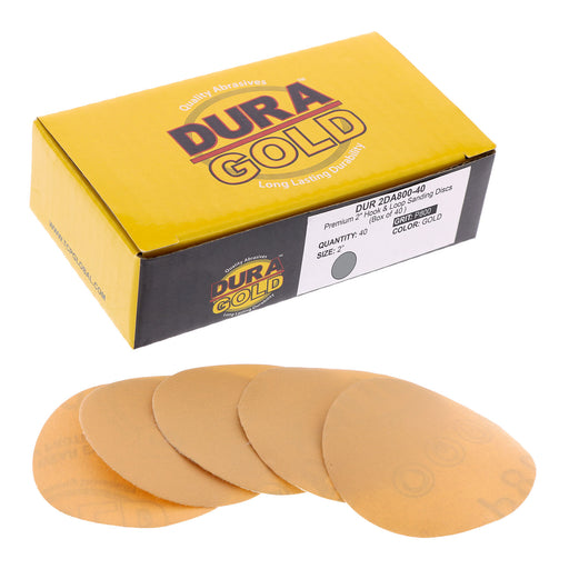 "Dura-Gold - Premium - 800 Grit 2"" Gold Hook & Loop Sanding Discs for DA Sanders - Box of 40 Sandpaper Finishing Discs for Automotive and Woodworking"