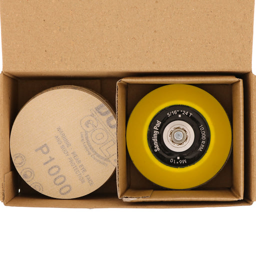 "Variety Grit Pack - 3"" Gold Hook & Loop Sanding Discs for DA Sanders - Box of 50"