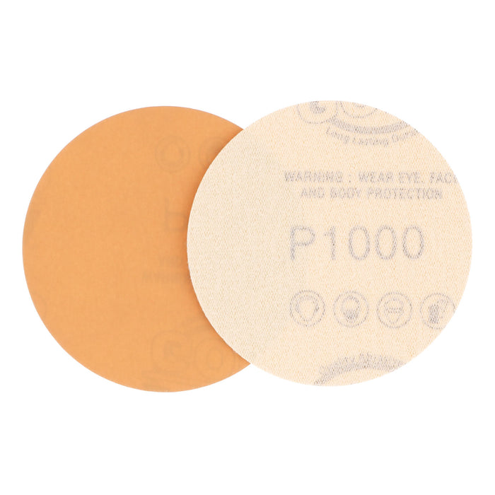 "1000 Grit - 3"" Gold Hook & Loop Sanding Discs for DA Sanders - Box of 40"