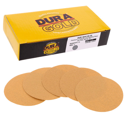 "Dura-Gold - Premium - 120 Grit 3"" Gold Hook & Loop Sanding Discs for DA Sanders - Box of 30 Sandpaper Finishing Discs for Automotive and Woodworking"