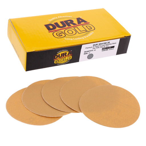 "180 Grit - 3"" Gold Hook & Loop Sanding Discs for DA Sanders - Box of 30"