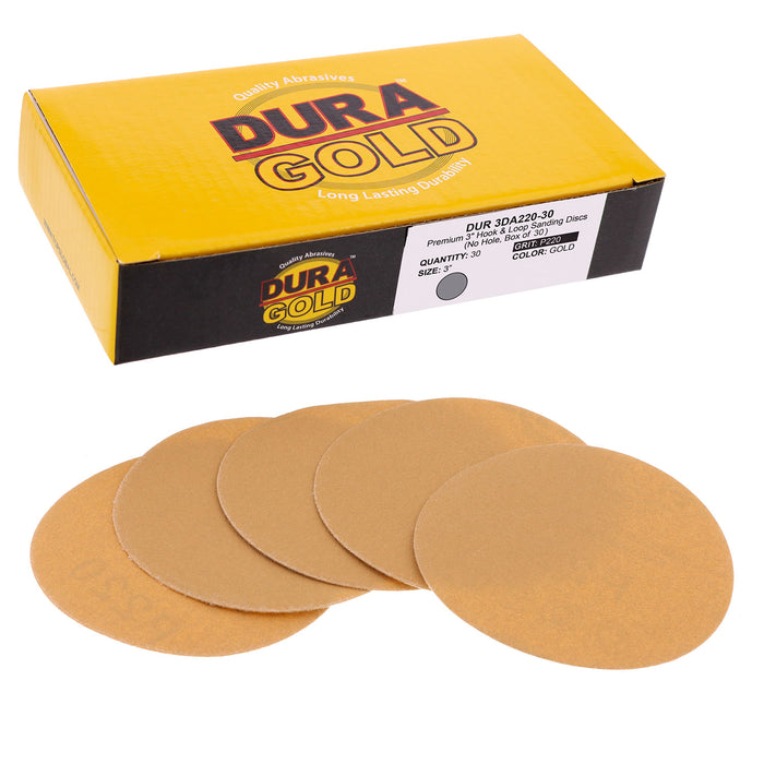 "220 Grit - 3"" Gold Hook & Loop Sanding Discs for DA Sanders - Box of 30"