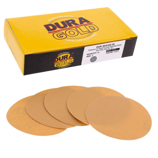 "Dura-Gold - Premium - 320 Grit 3"" Gold Hook & Loop Sanding Discs for DA Sanders - Box of 30 Sandpaper Finishing Discs for Automotive and Woodworking"