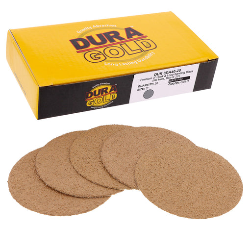 "Dura-Gold - Premium - 40 Grit 3"" Gold Hook & Loop Sanding Discs for DA Sanders - Box of 20 Sandpaper Finishing Discs for Automotive and Woodworking"