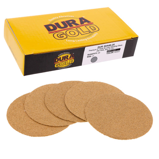 "Dura-Gold - Premium - 60 Grit 3"" Gold Hook & Loop Sanding Discs for DA Sanders - Box of 20 Sandpaper Finishing Discs for Automotive and Woodworking"