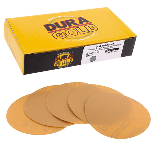 "Dura-Gold - Premium - 800 Grit 3"" Gold Hook & Loop Sanding Discs for DA Sanders - Box of 40 Sandpaper Finishing Discs for Automotive and Woodworking"