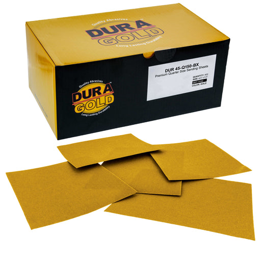 "Dura-Gold - Premium - 150 Grit Gold - 1/4 Sheet Plain Backing Sandpaper 5.5"" x 4.5"" - For Automotive & Wookworking Palm Sanders - Box of 400"