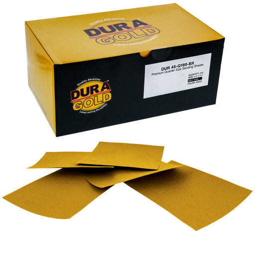 "Dura-Gold - Premium - 180 Grit Gold - 1/4 Sheet Plain Backing Sandpaper 5.5"" x 4.5"" - For Automotive & Wookworking Palm Sanders - Box of 400"