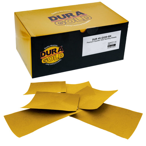 "Dura-Gold - Premium - 220 Grit Gold - 1/4 Sheet Plain Backing Sandpaper 5.5"" x 4.5"" - For Automotive & Wookworking Palm Sanders - Box of 400"