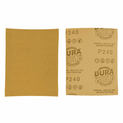 "Dura-Gold - Premium - 240 Grit Gold - 1/4 Sheet Plain Backing Sandpaper 5.5"" x 4.5"" - For Automotive & Wookworking Palm Sanders - Box of 400"