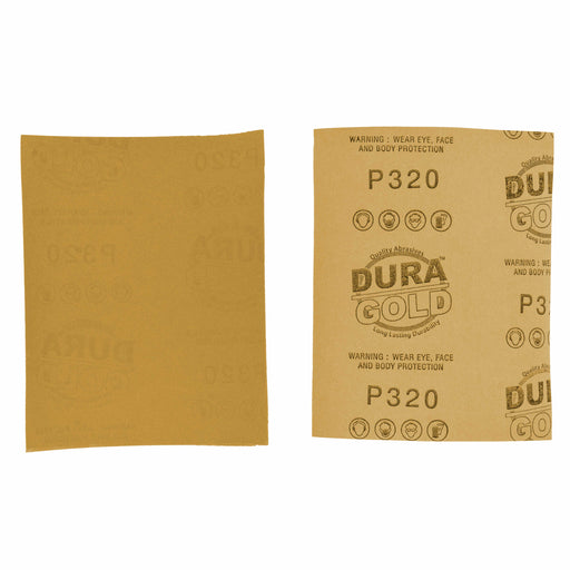 "Dura-Gold - Premium - 320 Grit Gold - 1/4 Sheet Plain Backing Sandpaper 5.5"" x 4.5"" - For Automotive & Wookworking Palm Sanders - Box of 400"